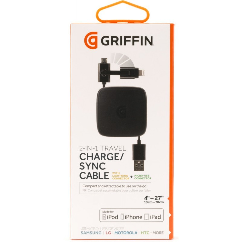 Griffin Retractable Lightning / Micro USB Cable Black