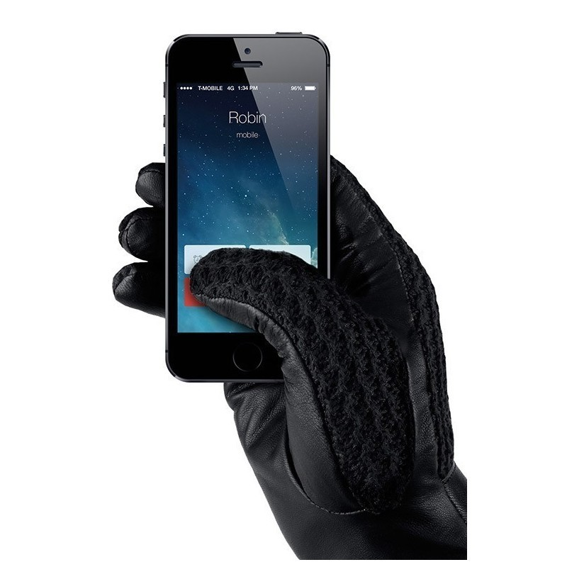 Mujjo Leder Crochet Touchscreen Gloves Size 8 (M)