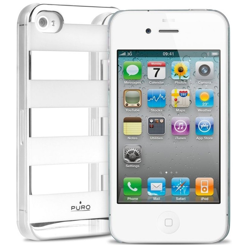 Stripe Back Cover iPhone 4 / 4S Silver / White
