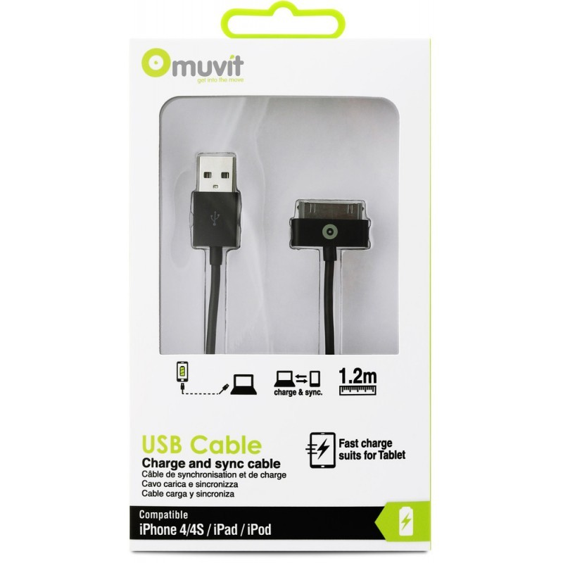 Muvit Charge & Sync cable 30-pin 1.2 m Black