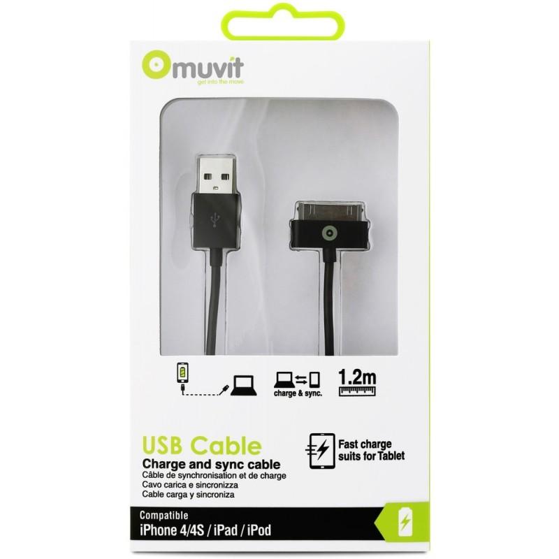 Muvit Dockconnector-zu-USB-kabel (3,00 m) schwarz