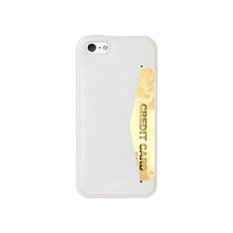 Muvit Leatherette Back Case iPhone 5(S) weiß