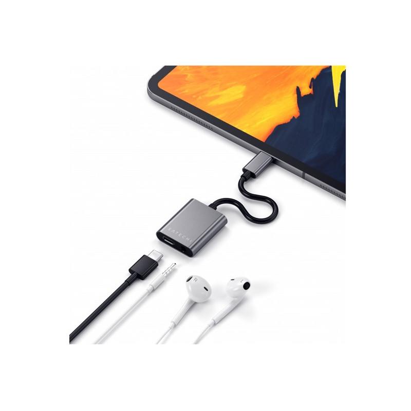 Satechi Aluminium Typ-C auf 3,5mm Kopfhörer USB-C PD grau