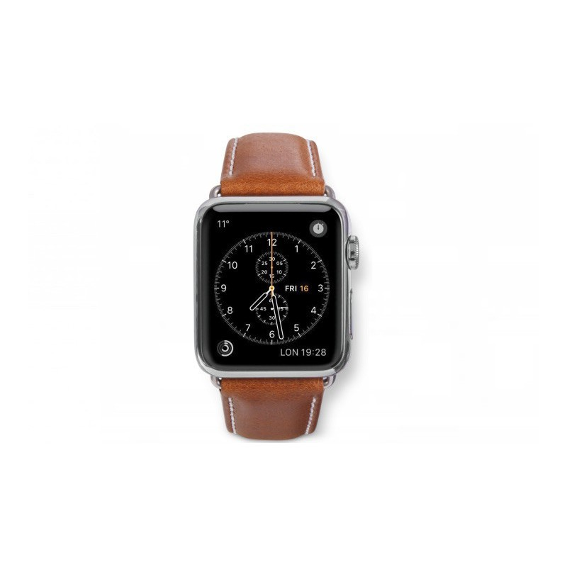 Dbramante1928 Kopenhagen Apple Watch Strap 38mm silber/braun