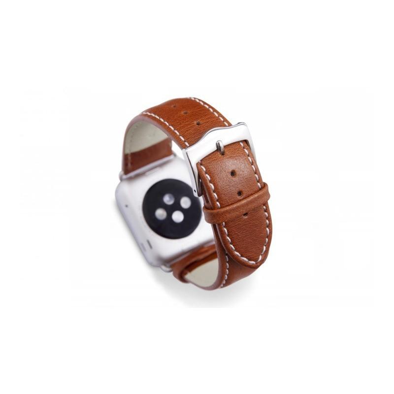 Dbramante1928 Kopenhagen Apple Watch Strap 42mm silber/braun