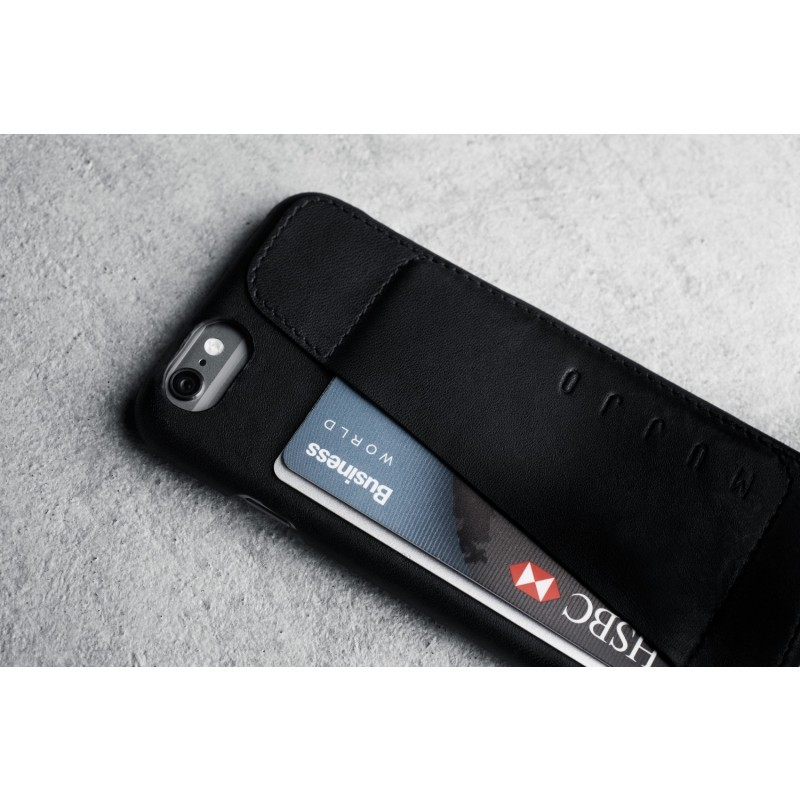 Mujjo Leather Wallet Case 80° iPhone 6(S) schwarz