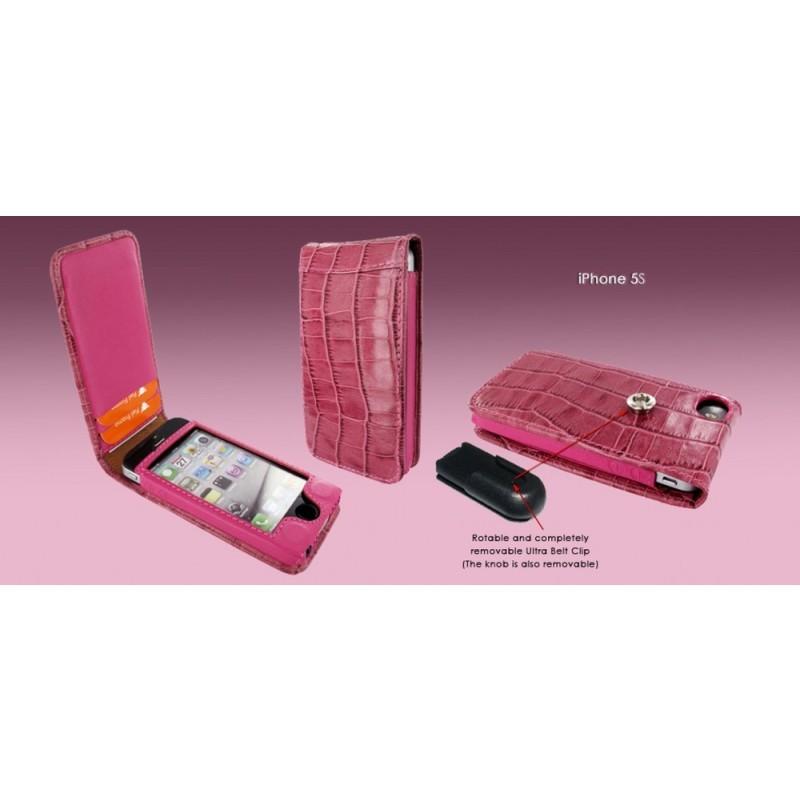Piel Frama Magnetic Flipcase iPhone 5(S)/SE Crocodile fuchsia