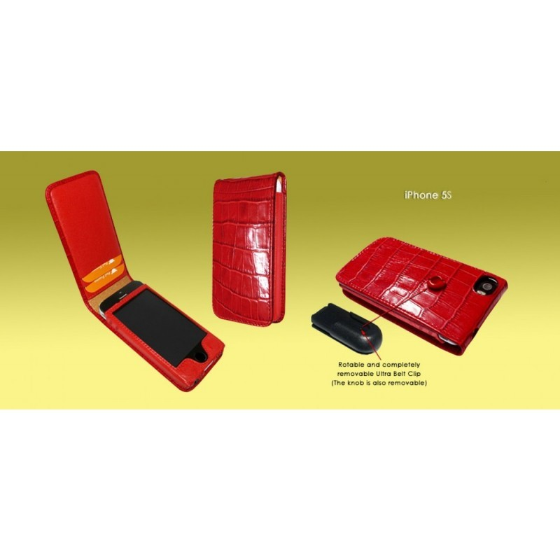 Piel Frama Magnetic Flipcase iPhone 5(S)/SE Crocodile rot
