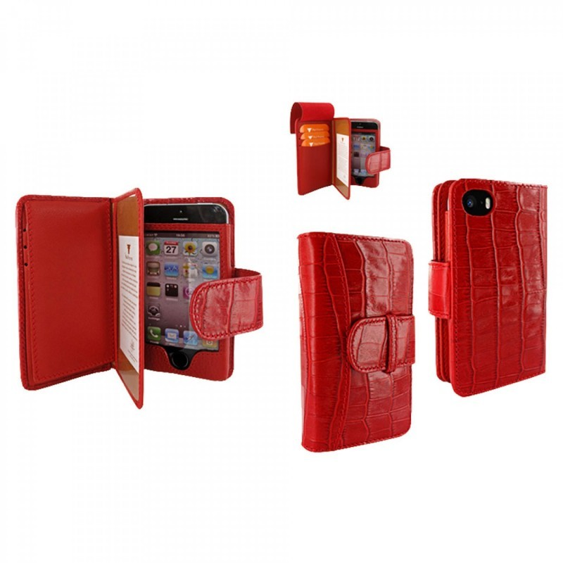 Piel Frama Wallet iPhone 5(S)/SE Crocodile rot