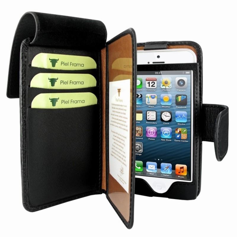 Piel Frama Wallet iPhone 5(S)/SE Swarovski schwarz