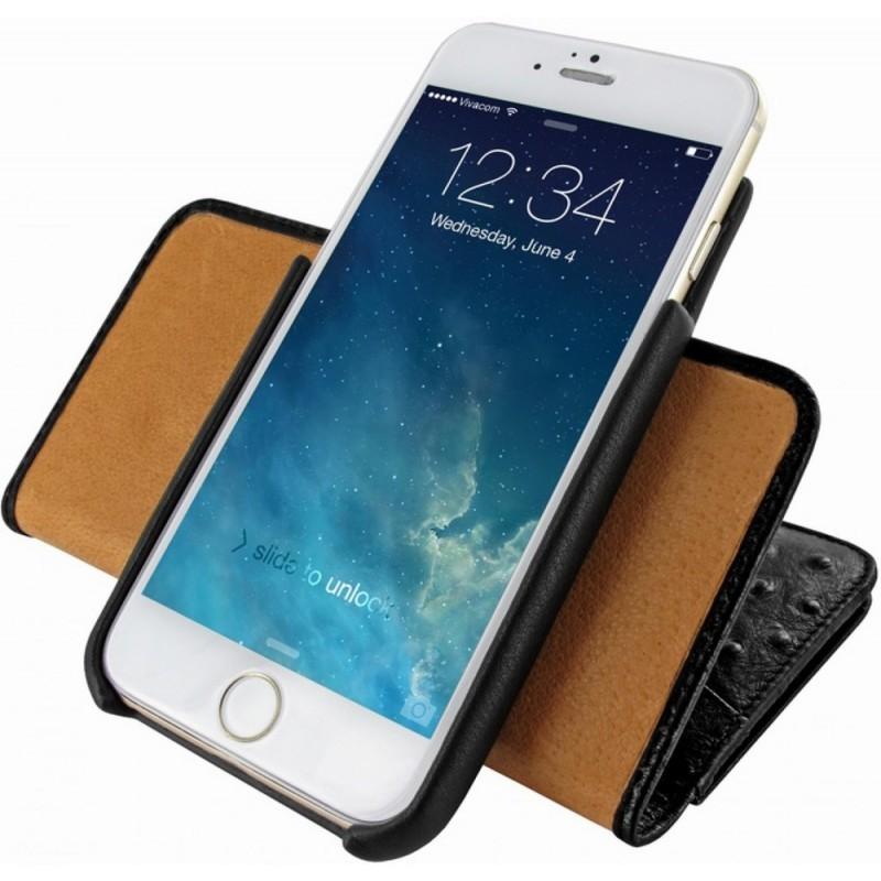 Piel Frama Wallet iPhone 6(S) Vogelstrauß schwarz