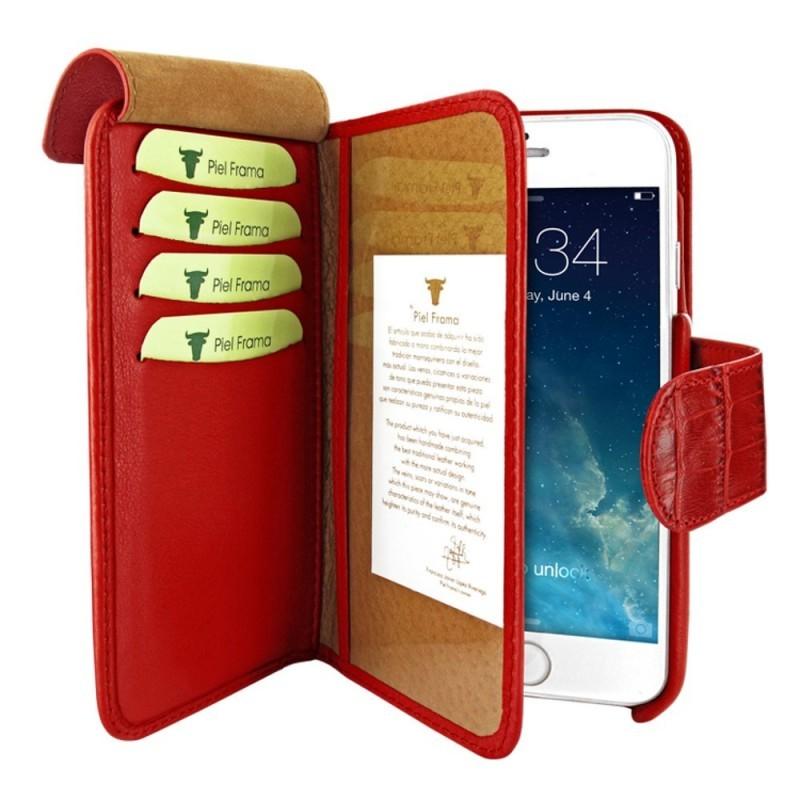 Piel Frama Wallet iPhone 6(S) Crocodile rot