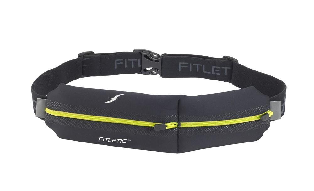 Fitletic Double Pouch Laufgürtel schwarz / gelb