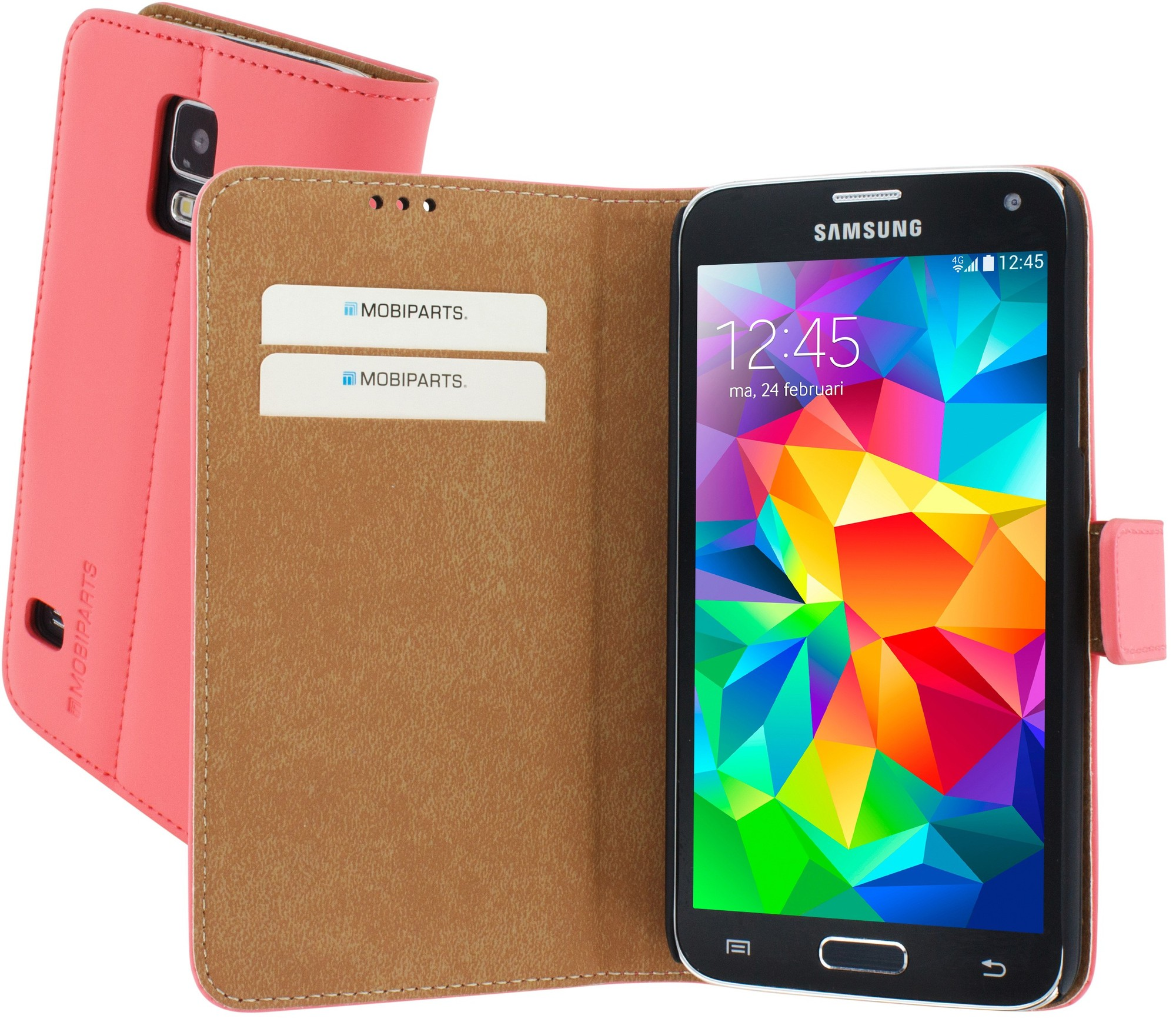 Premium Wallet Case Galaxy S5 / S5 Plus Peach Pink