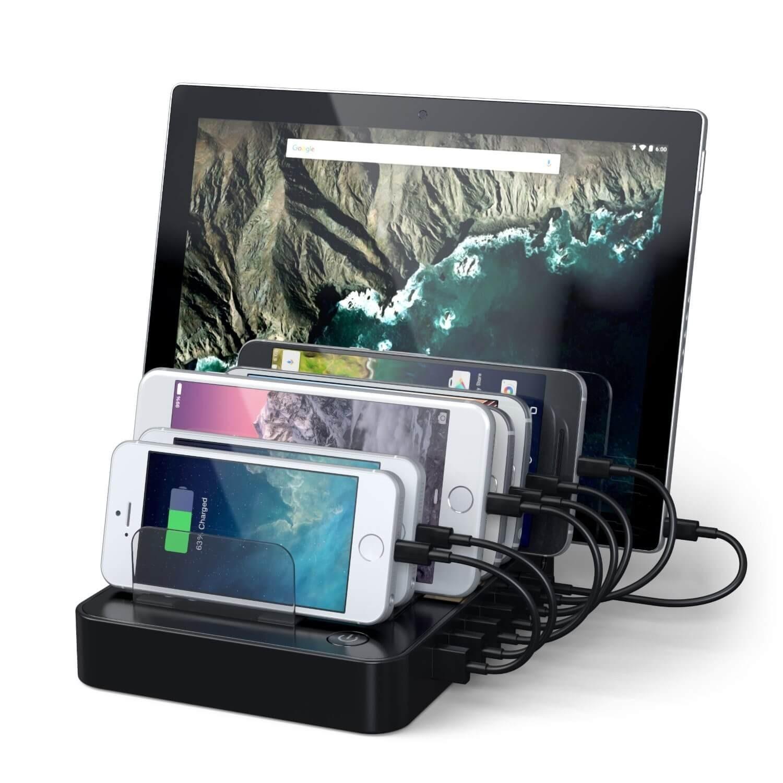Satechi 7-Port USB Charging Station Dock (2 x Type-C Ports) schwarz