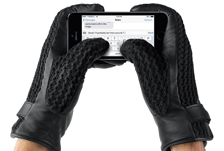 Mujjo Leder Crochet Touchscreen Gloves Size 9 (L)