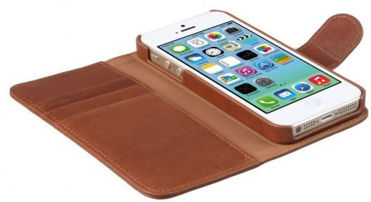 Melkco Alphard iPhone 5 / 5S Book Case Leather Orange Braun