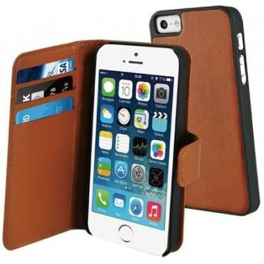 Muvit Magnetic Wallet Case Stand iPhone 5(S)/SE braun