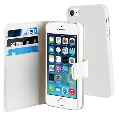 Muvit Magnetic Wallet Case Stand iPhone 5(S)/SE weiß