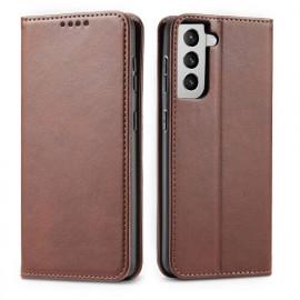 Casecentive Leder Wallet case Luxus Samsung Galaxy S21 braun
