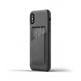 Mujjo Leather Wallet Case iPhone X grau