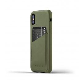 Mujjo Leather Wallet Case iPhone X grün