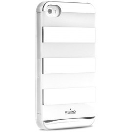 Stripe Back Cover iPhone 4 / 4S Silver / White
