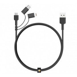 Aukey 3-in-1 Kabel USB-A zu USB-C Mikro-USB und Lightning 1.2m