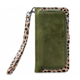 Mobilize 2in1 Gelly Wallet Zipper Case Galaxy S10 olivgrün / leopard