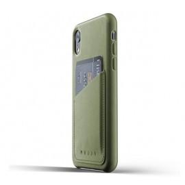 Mujjo Leather Wallet Case iPhone XR grün