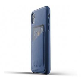 Mujjo Leather Wallet Case iPhone XR blau