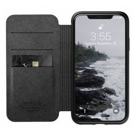Nomad Rugged Folio Lederhülle iPhone XR schwarz