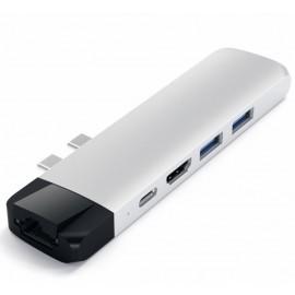 Satechi USB-C Pro Hub 4K HDMI mit Ethernet silber
