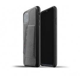 Mujjo Leder Wallet Hülle iPhone 11 Pro Max Schwarz