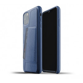 Mujjo Leder Wallet Hülle iPhone 11 Pro Max Blau