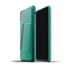 Mujjo Leder Wallet Hülle iPhone 11 Pro Max Grün