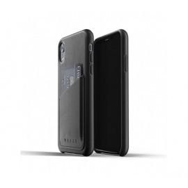 Mujjo Leder Wallet Case iPhone XR Schwarz