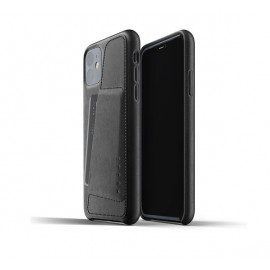 Mujjo Leather Wallet Case iPhone 11 Schwarz
