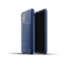 Mujjo Leather Wallet Case iPhone 11 blau