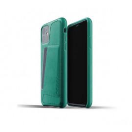 Mujjo Leather Wallet Case iPhone 11 grün