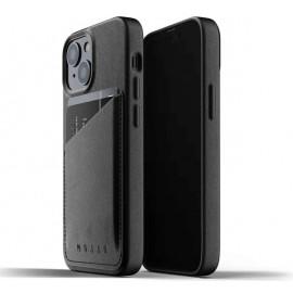Mujjo Leder Wallet Case iPhone 13 schwarz