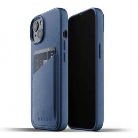 Mujjo Leder Wallet Case iPhone 13 Mini blau