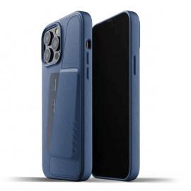 Mujjo Leder Wallet Case iPhone 13 Pro Max blau
