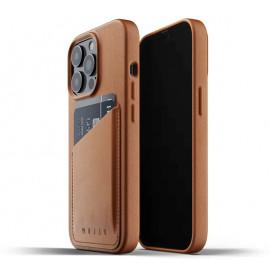 Mujjo Leder Wallet Case iPhone 13 Pro braun