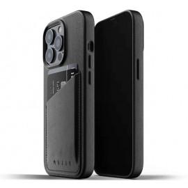 Mujjo Leder Wallet Case iPhone 13 Pro schwarz