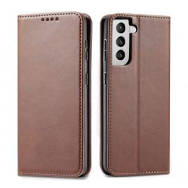 Casecentive Leder Wallet case Luxus Samsung Galaxy S21 Plus braun