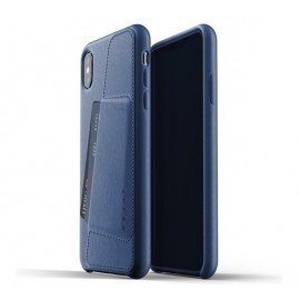 Mujjo Leather Wallet Case iPhone XS Max blau