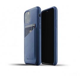 Mujjo Leather Wallet Case iPhone 11 Pro blau