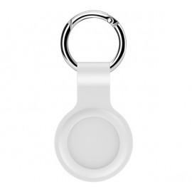 Casecentive Silikon Schlüsselanhänger mit Ring AirTag Case weiß