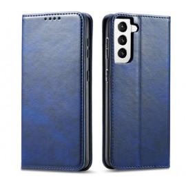 Casecentive Leder Wallet case Luxus Samsung Galaxy S21 blau